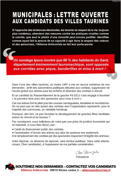 La lettre des anti-corridas aux candidats aux municipales.